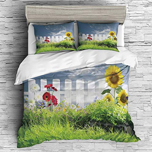 3 Pieces (1 Duvet Cover 2 Pillow Shams)/All Seasons/Home Comforter Bedding Sets Duvet Cover Sets for Adult Kids/King/Farm House Decor,Grass Foliage Field with Sunflowers Daisy Hedge Fence Yard Jardin, ()
