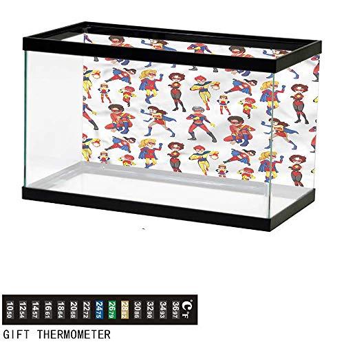Suchashome Fish Tank Backdrop Superhero,Imaginary Male Females,Aquarium Background,48
