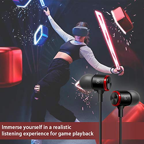 Fottos Noice Cancelling 3.5mm 3D Stereo Sound Earbuds Extra Bass Headphones for Oculus Quest VR Gaming Headset