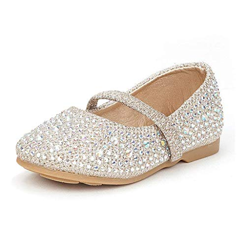 DREAM PAIRS MUY-Shine-INF Mary Jane Girls Rhinestone Studded Slip On Ballet Flats Toddler New Gold Size 7
