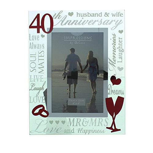 Oaktree Gifts 40th Anniversary Gift Mirrored Photo Frame 4 x 6