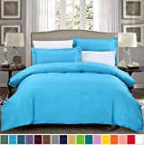 SUSYBAO 3 Pieces Duvet Cover Set 100% Cotton Queen Size 1 Duvet Cover 2 Pillow Shams Aqua Blue Hotel Quality Ultra Soft Breathable Hypoallergenic Durable Fade Stain Wrinkle Resistant with Zipper Ties
