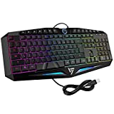 VicTsing Rainbow LED Backlit Gaming Keyboard Wired, Anti-ghosting and Water-Resistant Keyboard, Ideal for Gaming and Typing