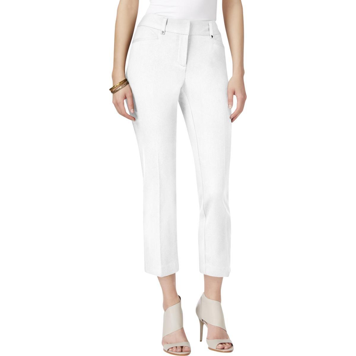 c0ba62a39bf93 Alfani Womens Plus Twill Tummy Control Capri Pants White 18 at Amazon  Women s Clothing store