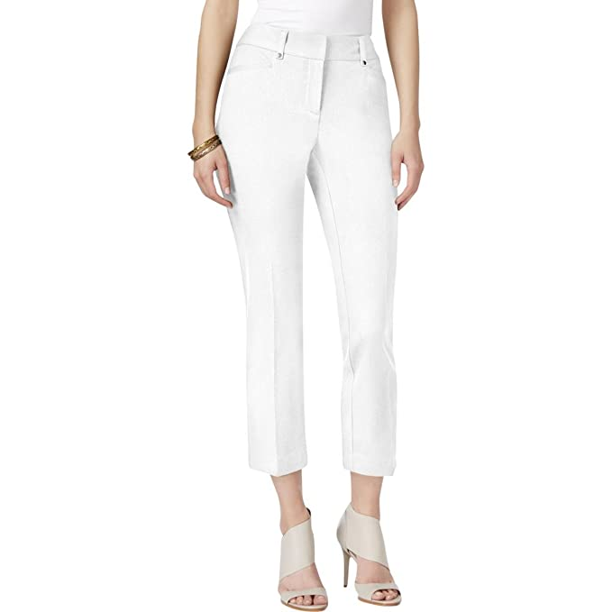 82cbd0d9f4dcb Image Unavailable. Image not available for. Color  Alfani Womens Plus Twill  Tummy Control Capri Pants White 18