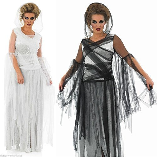 Ladies Black or White Long Length Haunting Ghost Dead Bride Halloween Fancy Dress Costume 8-30 Plus Size (UK 16-18]()
