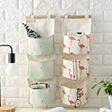 Shiaon Linen Cotton Fabric Hanging Storage Bag 3 Grid Over The Door Organizer for Home Decoration Fashion Flamingo Pattern 2 Packs