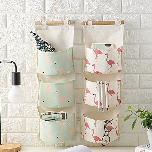 Shiaon Linen Cotton Fabric Hanging Storage Bag 3 Grid Over The Door Organizer for Home Decoration Fashion Flamingo Pattern 2 Packs by Shiaon