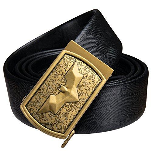 Dubulle Mens Italian Genuine Leather Belt with Removable Buckle Adjustable Automatic Buckle Belt Black Ratchet Belt for Men (DK-1004, waist size 42'' to 47'', belt 55''(140cm)) by Dubulle (Image #1)