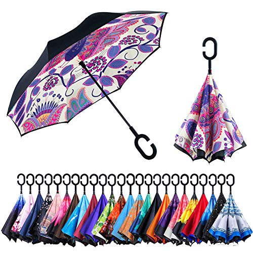 C Shape Handle - Newsight Reversible Umbrella - Dual Layer Inverted Umbrella, Self-Stand & C-Shape Hook to Free Hands, Reverse Inside Out Folding for Car Driver & Passenger, with Carrying Sleeve & PVC (Graffiti Bird)