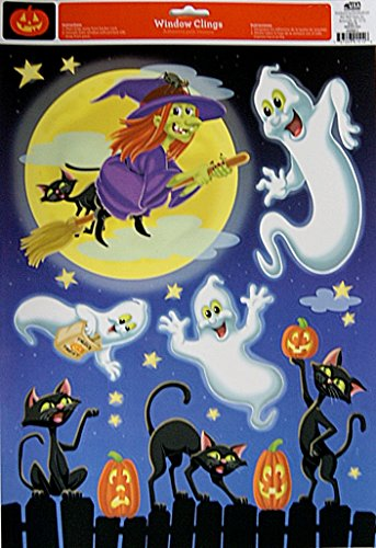 11.75' Art Print Poster (Halloween Themed Witch, Ghosts, and Black Cats Window Clings - 17'' x 11.75'')