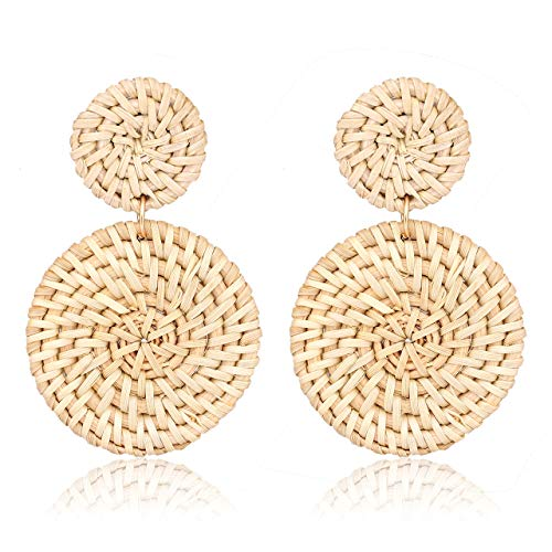 Weave Straw Double Disc Drop Earrings Boho Rattan Dangle Statement Earrings (Beige)