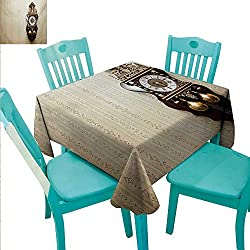 Clock Decorative Textured Fabric Tablecloth An Antique Style Wood Carving Clock with Roman Numerals Hanging on the Wall Design Washable Polyester - Great for Buffet Table, Parties, Holiday Dinner, We