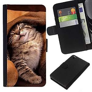 Cat Dog Ear Cute Kitten Friends Sleeping - la tarjeta de Crédito Slots PU Funda de cuero Monedero caso cubierta de piel HTC DESIRE 816