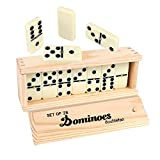 Dominoes Double 6, DOUBLEFAN Game Set with Spinner for Kids, 28 pcs