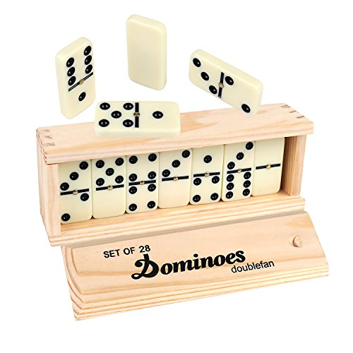 Dominoes Double 6, DOUBLEFAN Game Set with Spinner for Kids, 28 - Game Domino Spinner