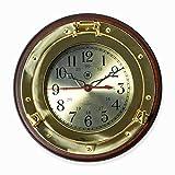 Wall Clocks - Brass Porthole Wall Clock On Wood Base - Nautical Decor
