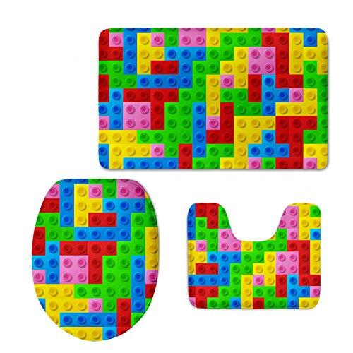 Instantarts Multicolor Tetris Bath Mat Set with Rug/Contour/Lid Cover Soft Anti Skid Doormat (3 PCS)