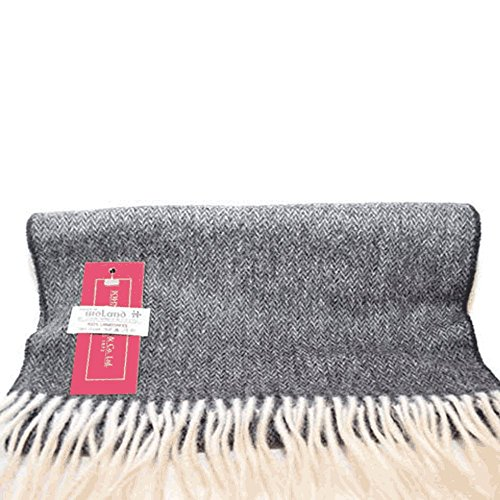 irish-lambswool-scarf-63-x-12-by-john-hanly-silver-charcoal-herringbone
