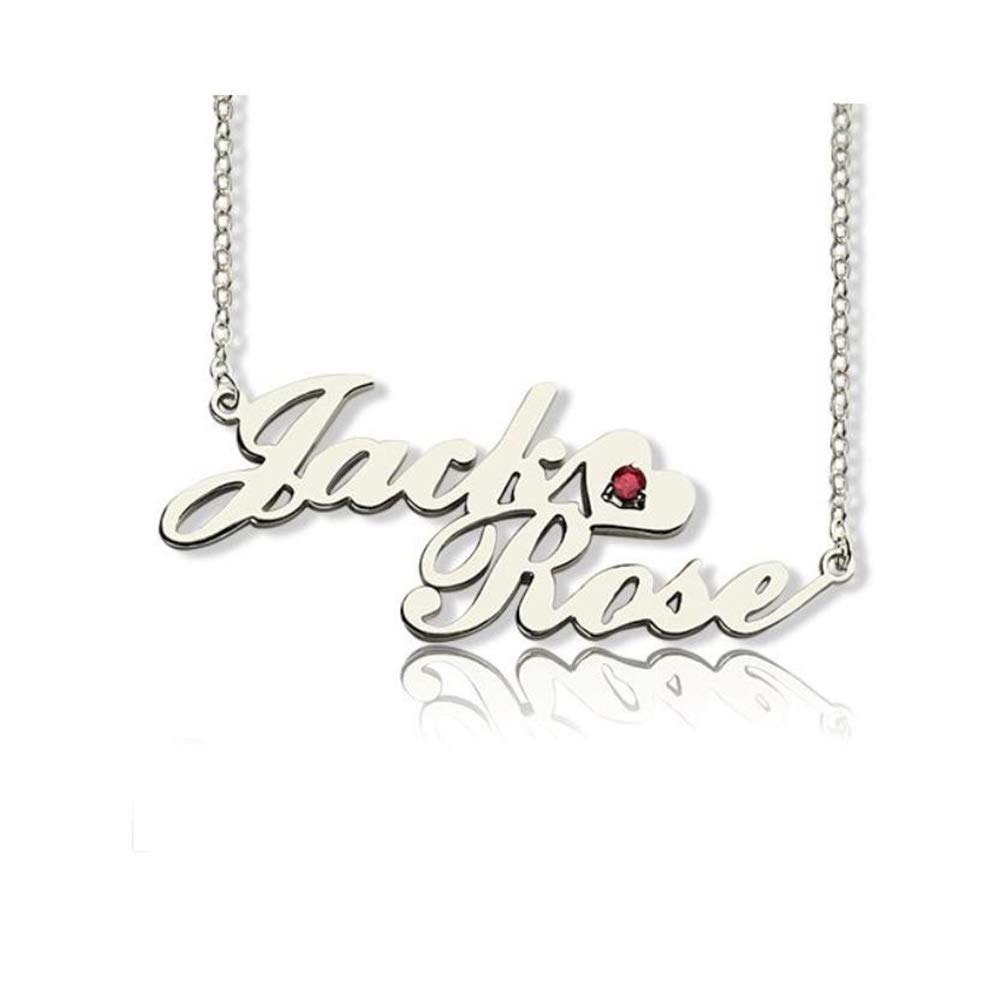 Jumping Birthstone Personalized 2 Names Necklace Customized Love Heart Choker 926 Sterling Silver Couple Necklace