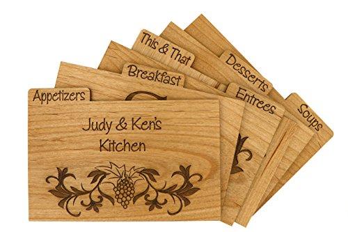 LGU(TM) Custom Made Wood Recipe Card Dividers with Tab (Set of 9)