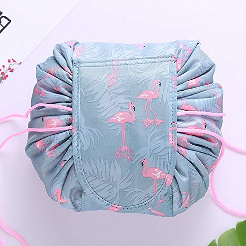Drawstring Cosmetic Bag Travel Lazy Makeup Storage Bag Portable&Waterproof Quick Pack Large Cosmetic Bag Dual Magic Bags With Zipper&Drawstrings Brush Holder Carry On Travel (Lovely Flamingo)