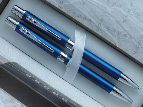 Cross Limited Edition Classic Metallic Matte Blue Barrel and Polished Appointment Pen and 0.7mm Pencil Set