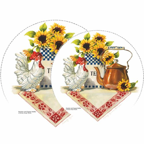 Reston Lloyd Electric Stove Burner Covers, Set of 4, Rooster & Copper Kettle All-Over Pattern