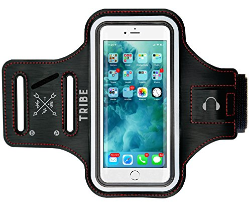 Large Product Image of TRIBE Water Resistant Phone Armband for iPhone 8, 7, 6, 6S, Samsung Galaxy S9, S8, S7, S6 with Adjustable Elastic Band & Key Holder for Running, Walking, Hiking, Biking