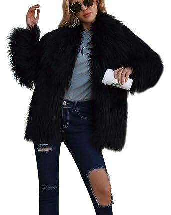 Abrigo Las Mujeres de Invierno Elegante cálido Abrigo Largo de Piel sintética de Pelo Chaqueta Outwear: Amazon.es: Ropa y accesorios