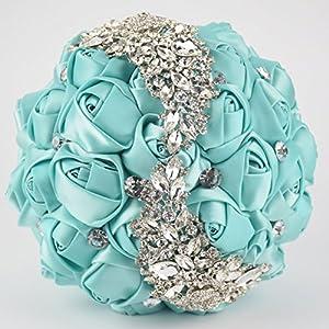 Ziye Shop Handmade Romantic Diamond Pearl Rhinestone Brooch Bridal Artificial Wedding Bouquet of Flower 107