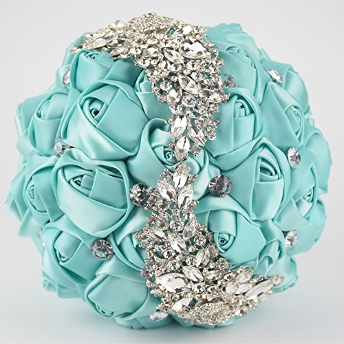 Ziye Shop Handmade Romantic Diamond Pearl Rhinestone Brooch Bridal Artificial Wedding Bouquet of Flower (Green) (Bridal Green Bouquets)