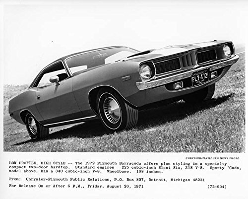 1972 Plymouth Barracuda Automobile Photo Poster