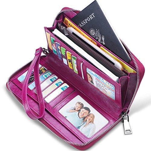 ID Blocking Large Capacity Luxury Oil Wax Genuine Leather Zip Around Wristlet Wallet Clutch Multi Card Holder Ladies Purse Purple ()
