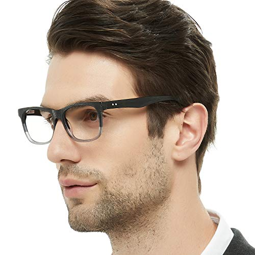 f909475cbcb Fashion Couple Eyewear Frame Square Imitation Wood Grain Non-prescription  Optical Eyeglasses