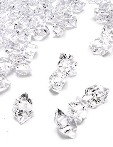 Xmas Fake Ice Cubes, 150 Pack Clear Acrylic Clear Ice Rock Crystals Crushed Snowflake Diamonds Gemstones Vase Fillers for Decoration Party Centerpiece Wedding by (Acrylic Crushed Ice)
