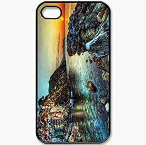 Protective Case Back Cover For iPhone 4 4S Case Sunset Landscapes Nature Beach Italy Hdr Photography Black
