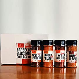 The Spice Lab BBQ Barbecue Spices and Seasonings Set - Ultimate Grilling Accessories Set - Perfect Gift Kit for… 1 INCLUDES FOUR FULL-SIZED SEASONING SHAKER JARS: Bad to the Bone, Sweet Rib Rub, Smokey Pecan Rib Rub and Ancho Chili & Coffee. The hit of any bbq party, enjoy premium bbq seasoning blends with so much value packed into one gift collection. THE BACKYARD BBQ GIFT SET: This four spice set completes any bbq kit for the bbq obsessed. Great grilling accessories, these spices are made for backyard cooking and for those who can't resist the smoky, savory flavors. Rest assured, this is the only kit you need to become the Grill Master of your neighborhood. COMMON USES: Use these grilling spices as a burger or poultry seasoning. This bbq set is perfect for bbq rubs and complete any grill set. Each flavor has a sweet and savory flavor base that is perfect for all types of meats. Don't eat meat? We've got you covered. This kit works great on pretty much anything and adds a smoky, umami flavor to any vegan or vegetarian dish.