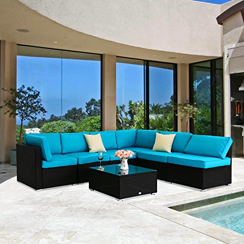 Peach Tree 7 PCs Outdoor Patio PE Rattan Wicker Sofa Sectional Furniture Set With 2 Pillows and Tea ()