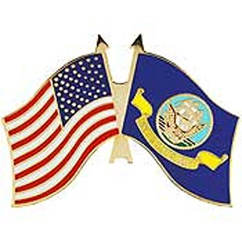 - US Navy and USA Flag Military Lapel Pin 1-1/4 Inches