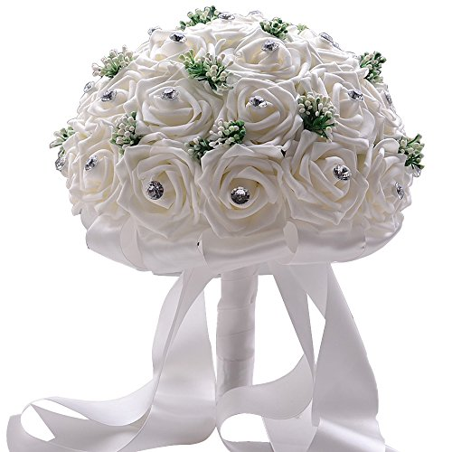 Moleya 9 Inch 30pcs Vintage PE Artificial Rose Flowers Bridal Holding Wedding Bouquets, White