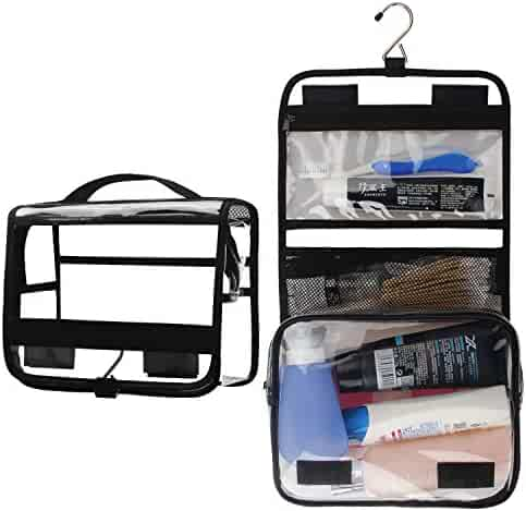 Relavel Clear Hanging Toiletry Bag Travel Cosmetic Bag for Women Large Wash Bag Portable Makeup Bags Travel Kit Organizer for Men Vacation, Gym, Beach, Business Trip (Clear Black)