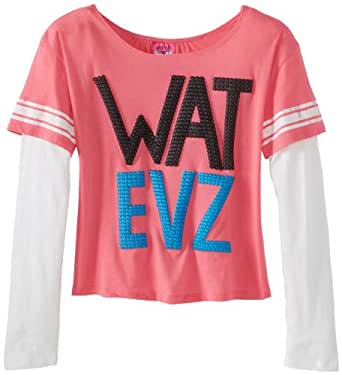 Derek Heart Big Girls' Skater Sleeve Jingle Tee with Puff Foil Print, Pink Lady, Medium