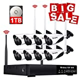 Wireless Security Camera System with 1TB Hard Drive, 960P HDMI NVR 8 Channel 720p HD Wireless Cameras Video Surveillance System, Night Vision, Motion Detection, Manual Record or Motion Record