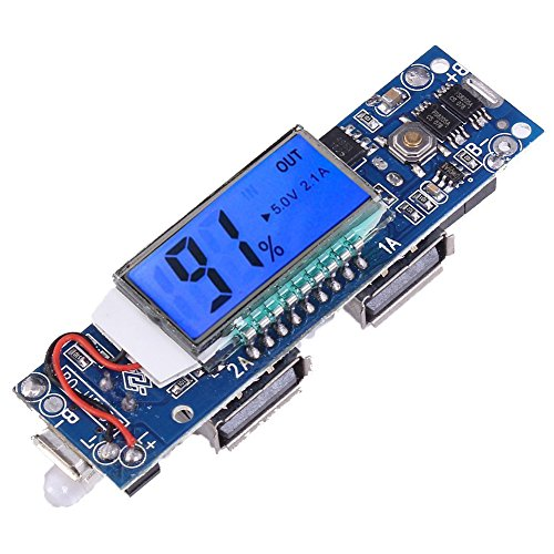 Icstation Dual USB 5V 1A 2.1A DIY Power Bank Mainboard 18650 Battery Charger PCB Board with LCD Display LED Lamp