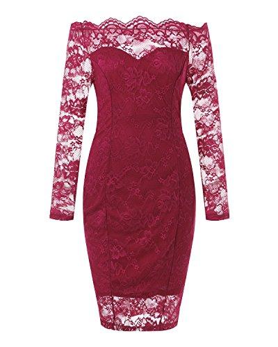 Auxo Damen Langarm Kleider mit Spitze Schulterfreie Elegant Knielang Abend  Etuikleid Rot 31r7pV d75024e8f3