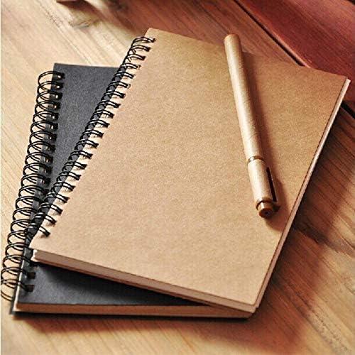 LINL Skizzenbuch Tagebuch Zeichnung Malerei Graffiti Kleine 12 * 18cm Soft Cover Blank Papier-Notizbuch-Protokoll-Auflage-Schule-Büro-Pads Briefpapier,Khaki-Khaki Inner
