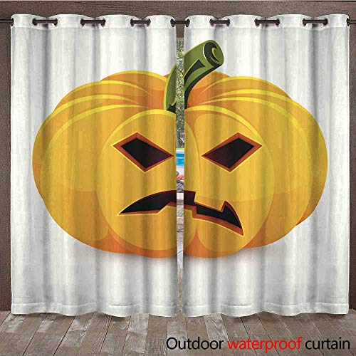 Outdoor Ultraviolet Protective Curtains Halloween Pumpkin Angry Jack O Lantern on a White Background W72 x -