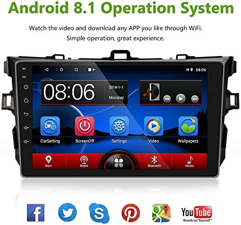 UNITOPSCI Car Stereo Android 8.1 Navigation Stereo for Toyota Corolla 2006-2012 Double Din Car Radio 9 HD Touch Screen 1G 16G GPS Navigation WiFi Bluetooth FM Radio USB Mirror Link Backup Camera