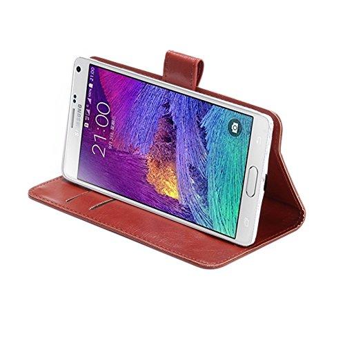 Wkae Case & Cover 5.3-5.5 pulgadas universal loco textura caballo de 360 grados de rotación lleva la caja con el soporte y las ranuras para tarjeta para Samsung Galaxy Note I / II / III / IV ( Color marrón